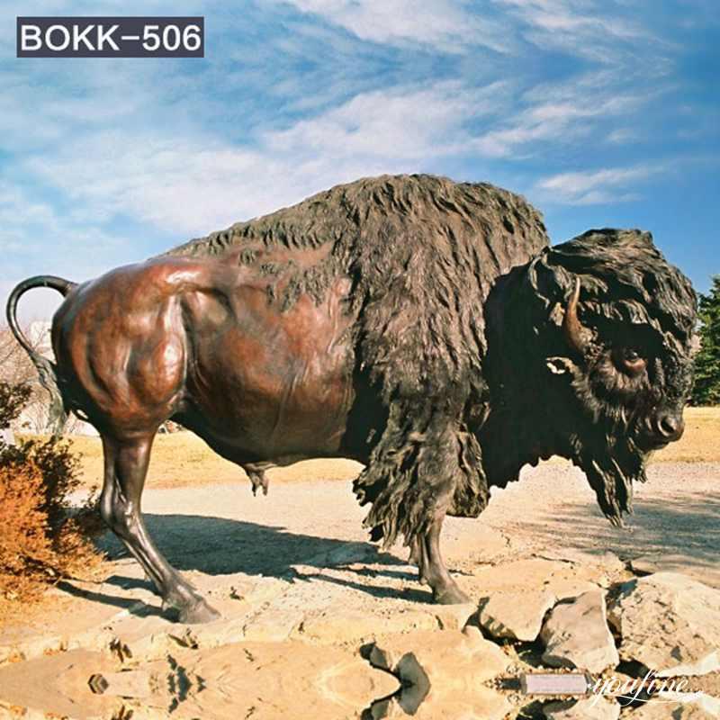 Customized Bronze Bison Sculpture Zoo Farmhouse Decor for Sale BOKK-506